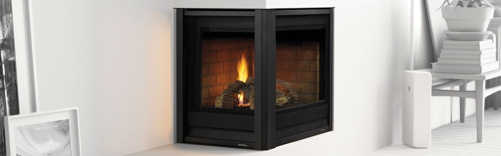 <p>Corner Series Gas Fireplace shown with Folio front in black</p>